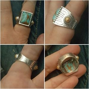 Great Ceramic-Turquoise-Blend SteelBrass Sun Ring
